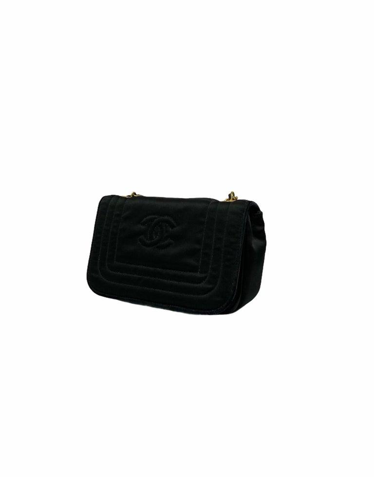 Chanel Black Leather Mini Vintage Bag For Sale 3