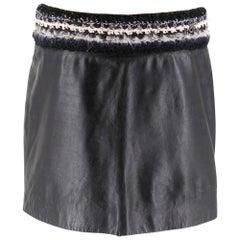 Chanel Black Leather Miniskirt W/ Tweed Waist SIZE XS