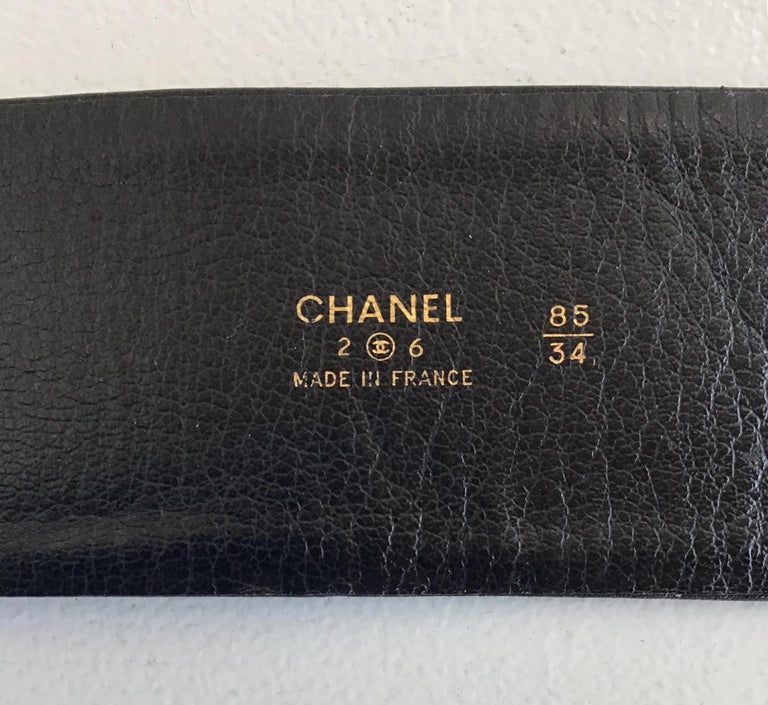 Women's or Men's Chanel Black Leather Multi Chain and Logo Belt For Sale