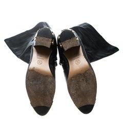 Chanel Black Leather Paris Dallas Metal Cap Toe Thigh High Boots Size 40