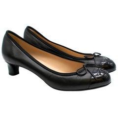 Chanel Black Leather Patent Cap-Toe Pumps 37