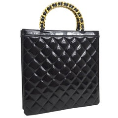 Chanel Black Leather Patent Top Handle Evening Shopper Tote Bag