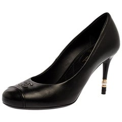 Chanel Black Leather Pearl Heel CC Cap Round Toe Pumps Size 37