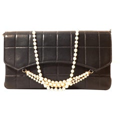 Chanel Black Leather Pearl Strap Flap Bag
