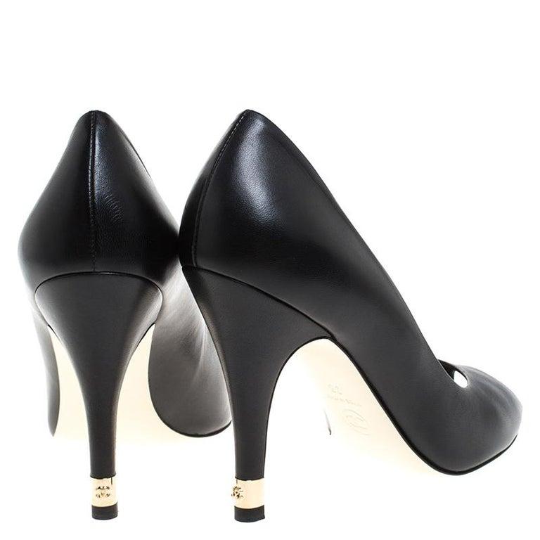 Women's Chanel Black Leather Peep Toe CC Heel Pumps Size 38 For Sale