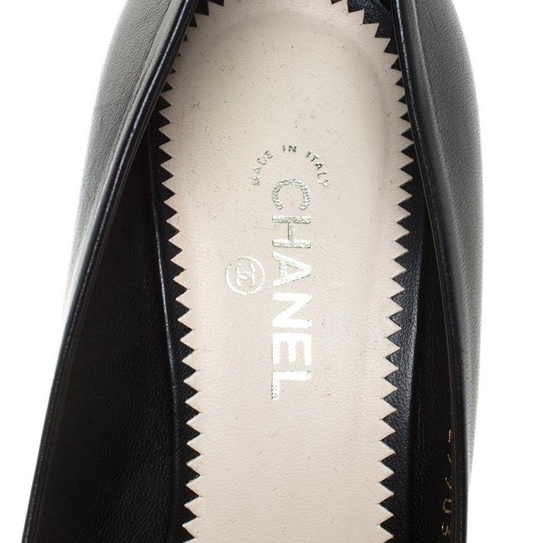 Chanel Black Leather Peep Toe CC Heel Pumps Size 38 For Sale 1