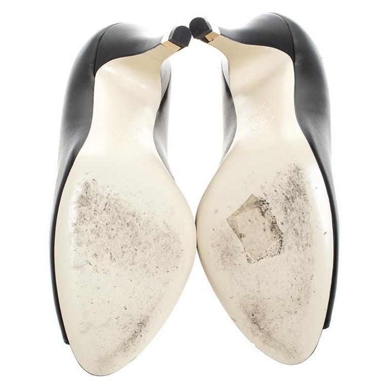 Chanel Black Leather Peep Toe CC Heel Pumps Size 38 For Sale 3