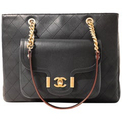 Chanel Black Leather Pocket Tote