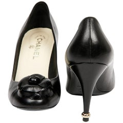 Chanel Black Leather Pumps with Camellia