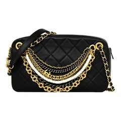 """Chanel Black Leather Quilted """"All About Chains"""" Crossbody Camera Bag  rt. $5,000"""