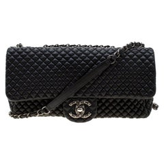 Chanel Black Leather Quilted Chocolate Bar Flap Bag