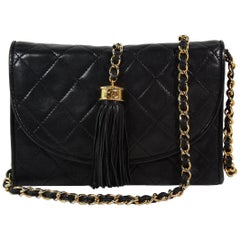 Chanel Black Leather Quilted Crossbody Bag with Tassle