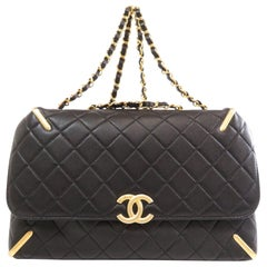 Chanel Black Leather Quilted Gold Evening Tote Carryall Shoulder Flap Bag