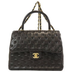 Chanel Black Leather Quilted Gold Top Handle Tote Carryall Shoulder Flap Bag