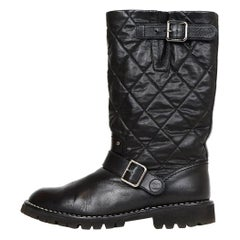 Chanel Black Leather Quilted Moto Boots with Shearling Lining sz 38.5