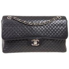Chanel Black Leather Quilted Silver Medium Evening Shoulder Flap Bag