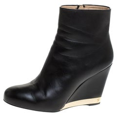 Chanel Black Leather Round Toe Wedge Boots Size 39.5
