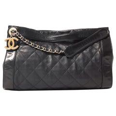 Chanel Black Leather Rue Cambon Shopper Tote