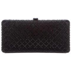 Chanel Black Leather Sequin Kisslock Silver Chain Evening Shoulder Clutch Bag