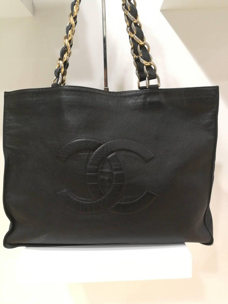 Chanel Black Leather Shopper Bag 7