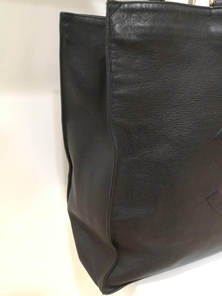 Chanel Black Leather Shopper Bag In Good Condition In Capri, IT