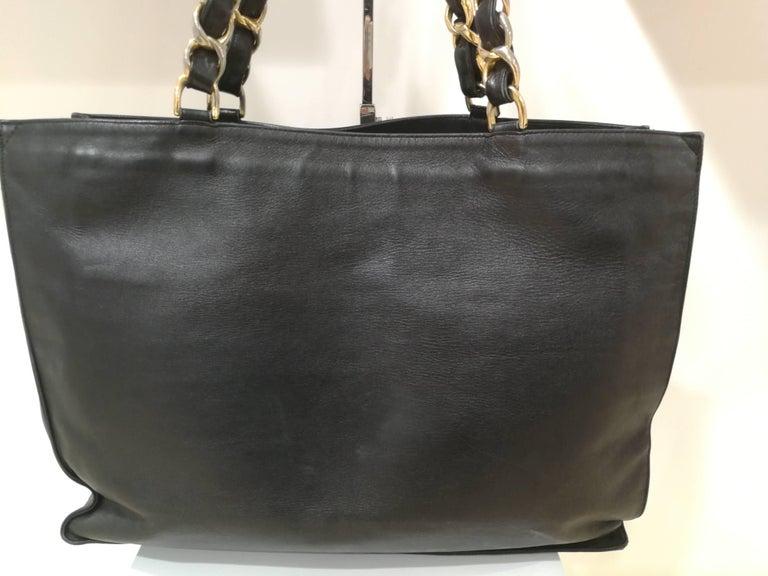 Chanel Black Leather Shopper Bag 1