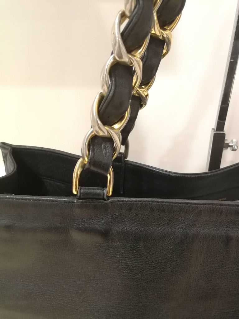 Chanel Black Leather Shopper Bag 2
