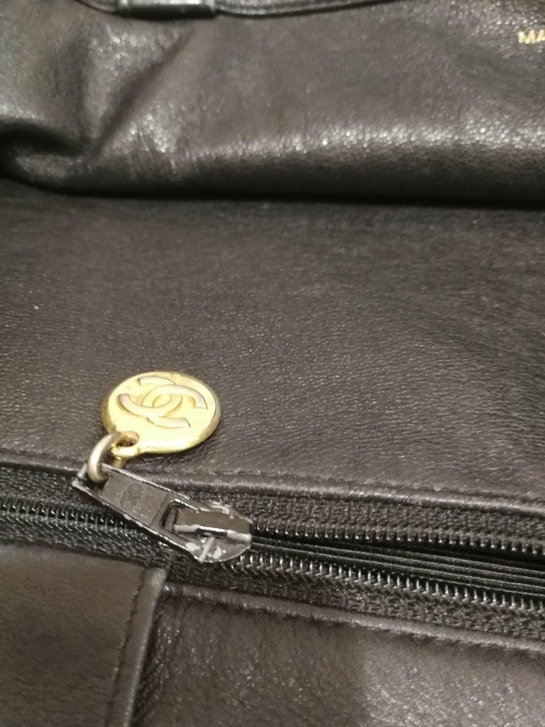 Chanel Black Leather Shopper Bag 4