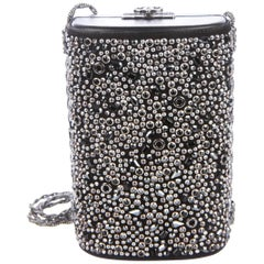 Chanel Black Leather Silver Crystal Silver Small Cylinder Evening Shoulder Bag