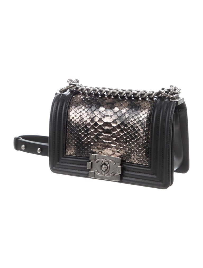 Chanel Black Leather Silver Gold Snakeskin Exotic Boy Small Shoulder Flap Bag  Snakeskin Leather Silver-tone hardware Leather lining Push-lock closure  Date code present  Made in France Top handle drop 12