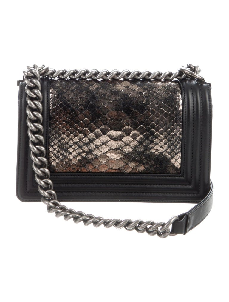 Chanel Black Leather Silver Gold Snakeskin Exotic Boy Small Shoulder Flap Bag In Excellent Condition For Sale In Chicago, IL