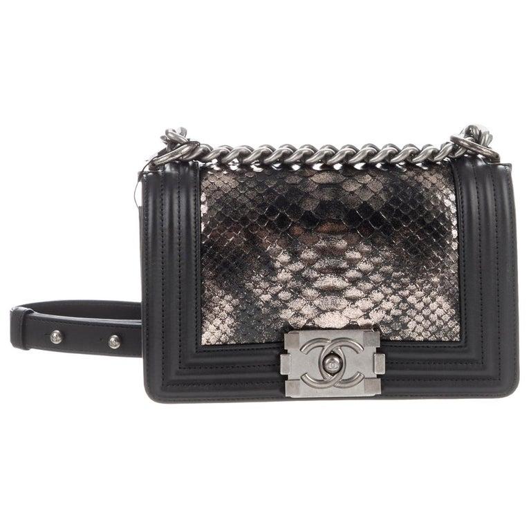 Chanel Black Leather Silver Gold Snakeskin Exotic Boy Small Shoulder Flap Bag For Sale