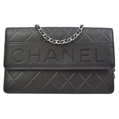 Chanel Black Leather Silver Logo Wallet on Chain Shoulder Flap Bag in Box