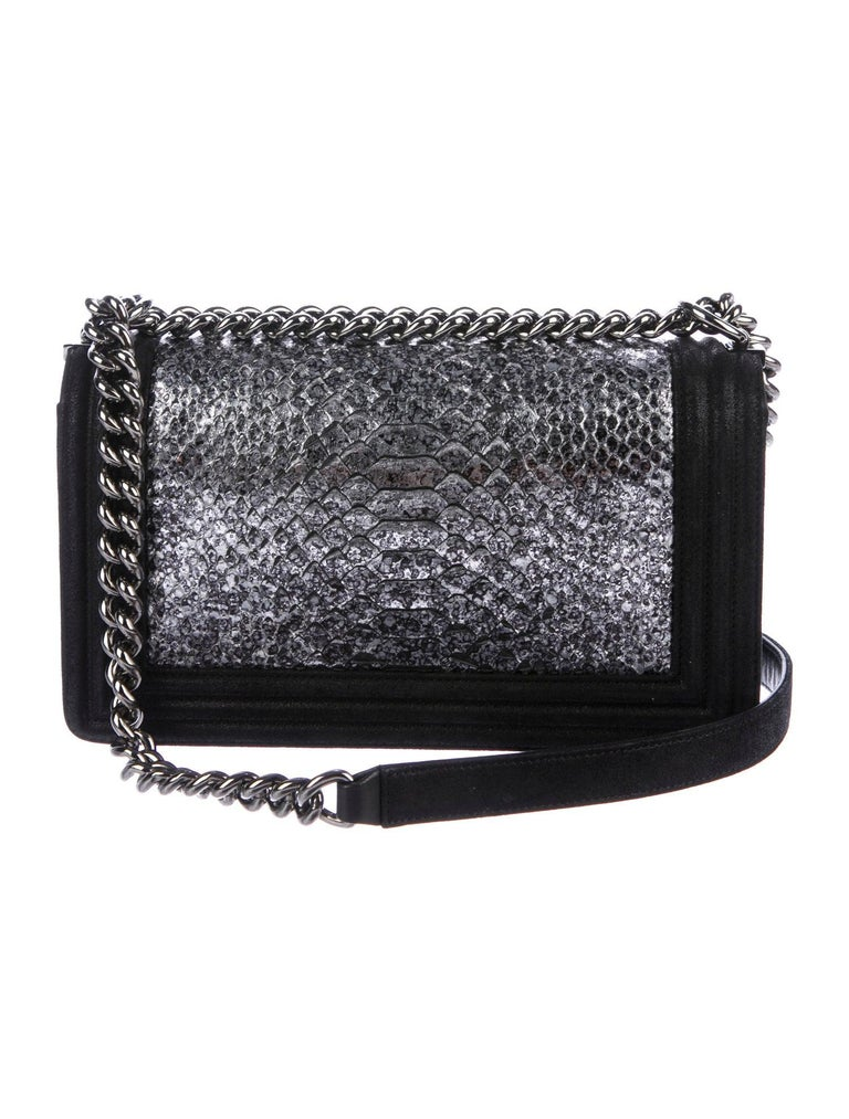 Chanel Black Leather Silver  Snakeskin Exotic Boy Small Shoulder Flap Bag  Snakeskin Leather Silver-tone hardware Suede lining Push-lock closure  Date code present  Made in France Shoulder strap drop 20