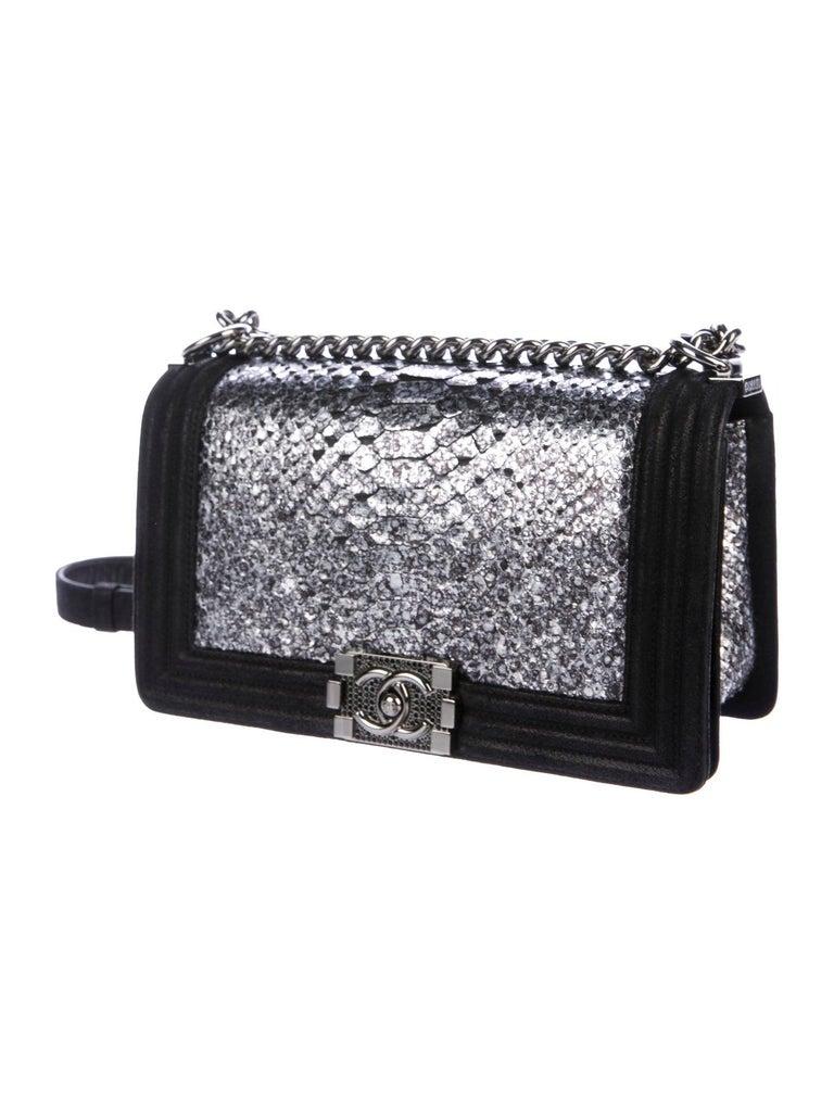 Women's Chanel Black Leather Silver Snakeskin Exotic Boy Small Shoulder Flap Bag For Sale