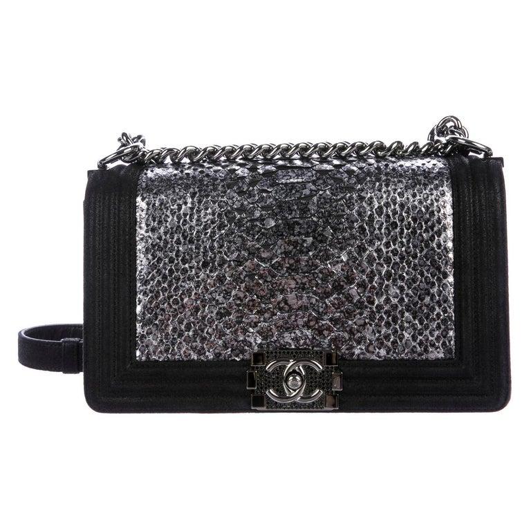 Chanel Black Leather Silver Snakeskin Exotic Boy Small Shoulder Flap Bag For Sale