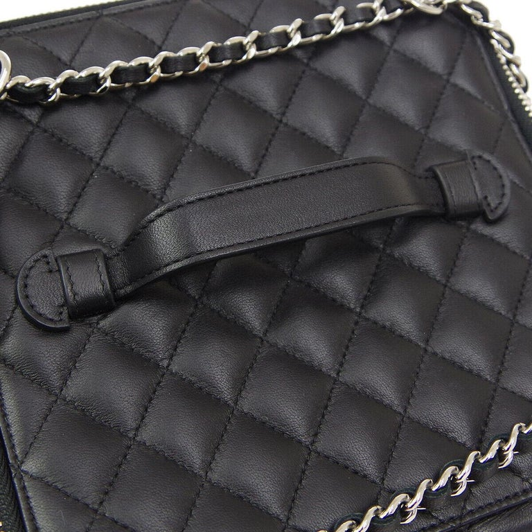 Chanel Black Leather Silver Square Chain Travel Jewelry Top Handle Shoulder  Bag In Excellent Condition For Sale In Chicago, IL