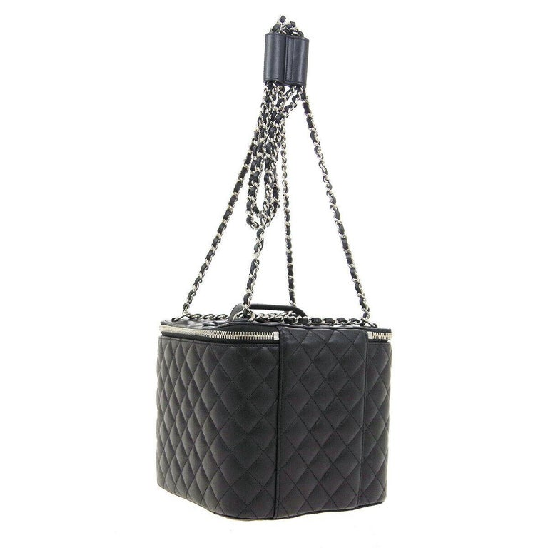 Women's Chanel Black Leather Silver Square Chain Travel Jewelry Top Handle Shoulder  Bag For Sale