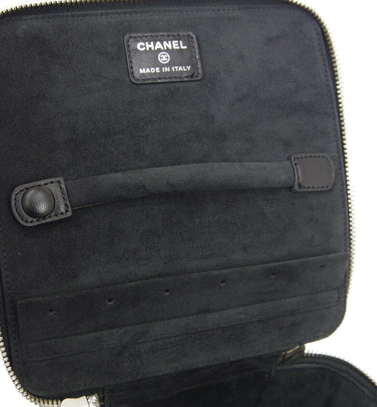 Chanel Black Leather Silver Square Chain Travel Jewelry Top Handle Shoulder  Bag For Sale 3