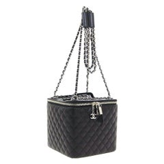 Chanel Black Leather Silver Square Chain Travel Jewelry Top Handle Shoulder  Bag