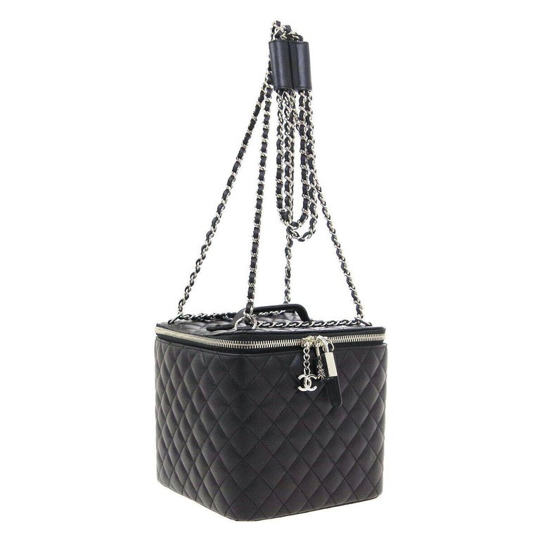 Chanel Black Leather Silver Square Chain Travel Jewelry Top Handle Shoulder  Bag For Sale