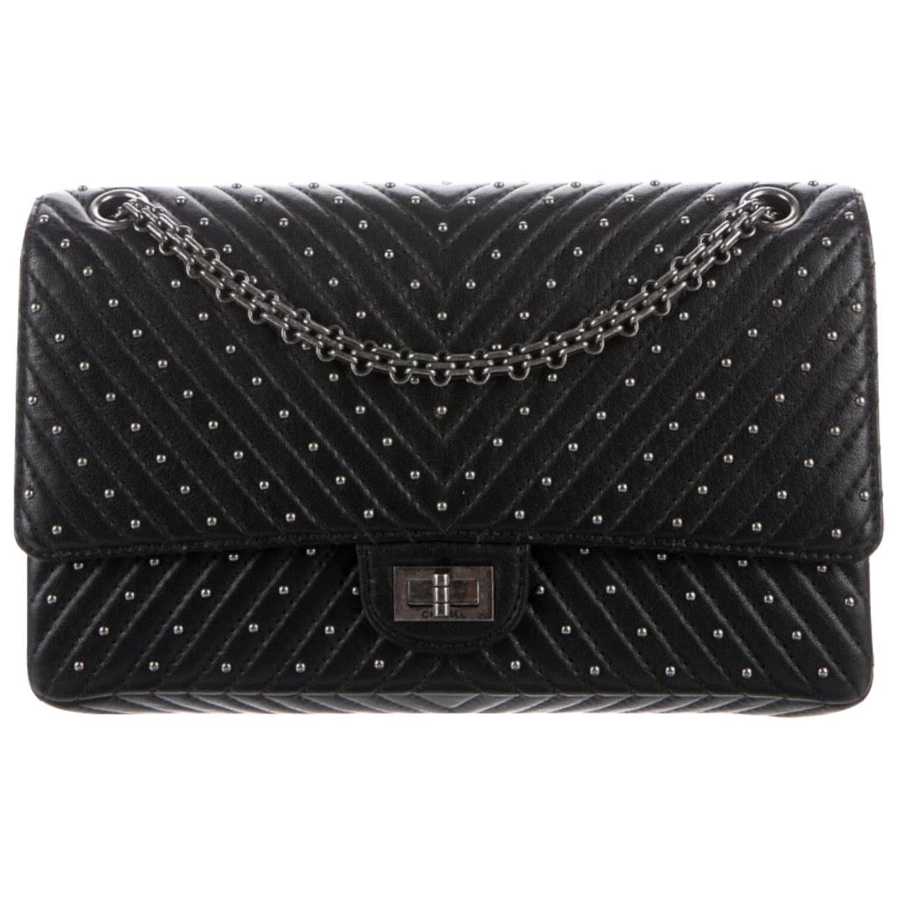 Chanel Black Leather Silver Stud Medium Evening Shoulder Double Flap Bag