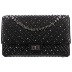 Chanel Black Leather Silver Stud Medium Evening Shoulder Double Flap Bag