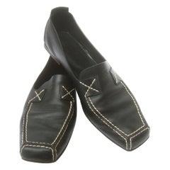 Chanel Black Leather Slip On Italian Low Heel Flats Size 38.5 c 1990s
