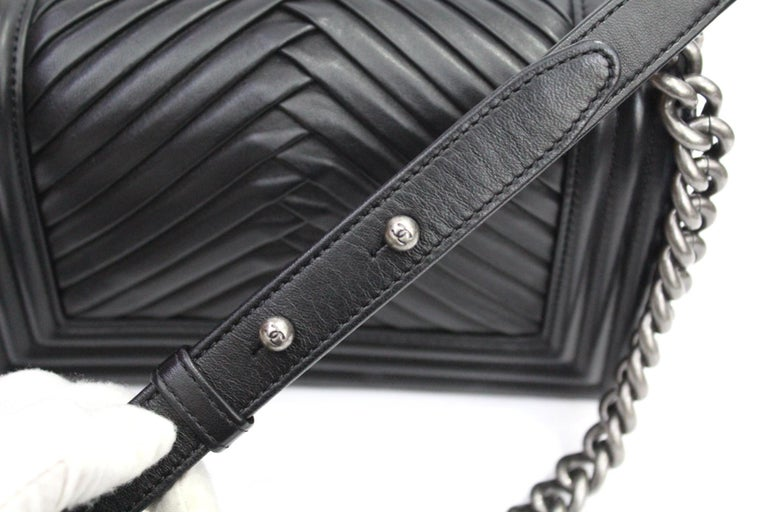 Women's Chanel Black Leather Small Boy Bag For Sale