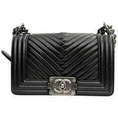 Chanel Black Leather Small Boy Bag