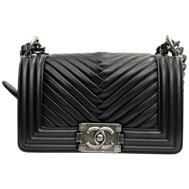 Chanel Black Leather Small Boy Bag For Sale