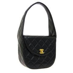 Chanel Black Leather Small Mini Evening Top Handle Satchel Shoulder Flap Bag