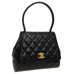 Chanel Black Leather Small Mini Kelly Style Evening Top Handle Satchel  Flap Bag