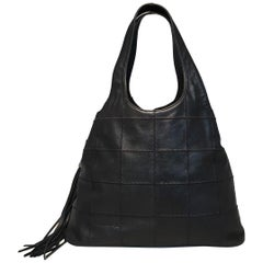 5b19f295ae70a7 Chanel Black Leather Square Quilted Drawstring Tassel Shoulder Bag